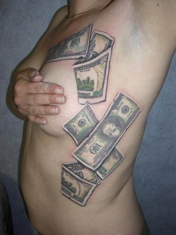 Bill Tattoo Designs Dollar Bill Rose Tattoos Hundred Dollar Bill
