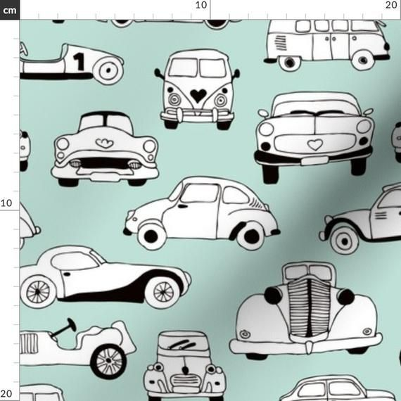 Mint Fabric – Vintage Classic Cars Scandinavian Retro Mint Fabric By Littlesmilemakers-  Retro Cotton fabric by the metre by Spoonflower