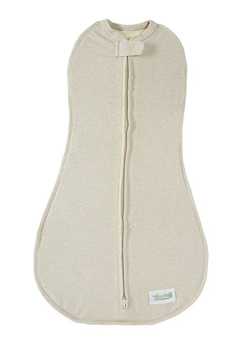 Woombie Original One-Step Baby Swaddle - Easy to Use Natural Approach to Swaddling - Stretchy but Snug Breathable Fabric - Free Bird (Heathered Cream) - Newborn 5-13 lbs