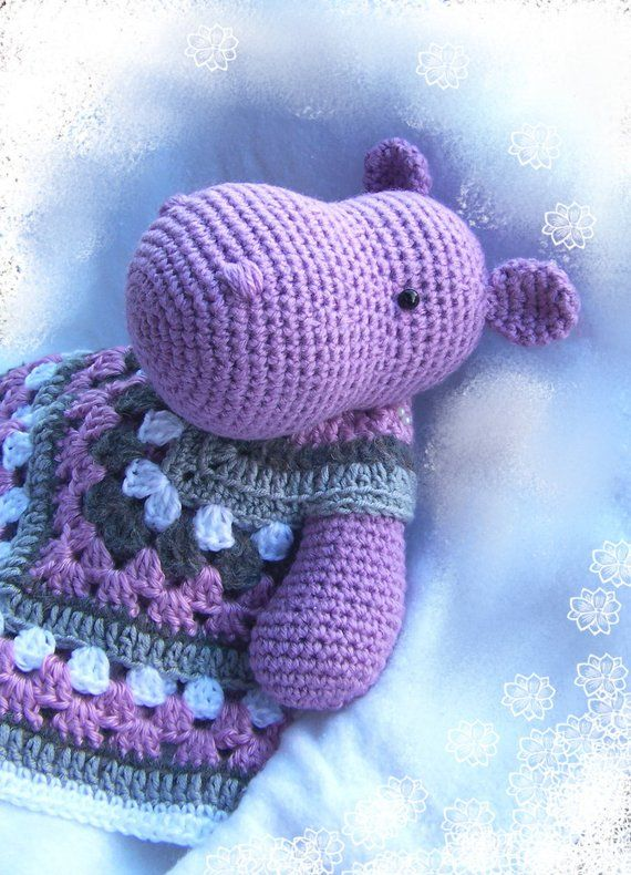 Cuddly Hippo Lovey-Crochet Pattern-Security Blanket-Soft Toy Hippo ...