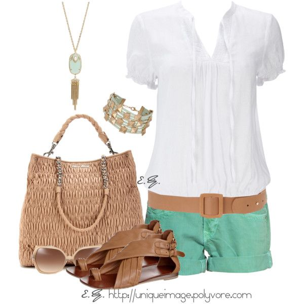 Mint Green & Tan, created by uniqueimage on Polyvore