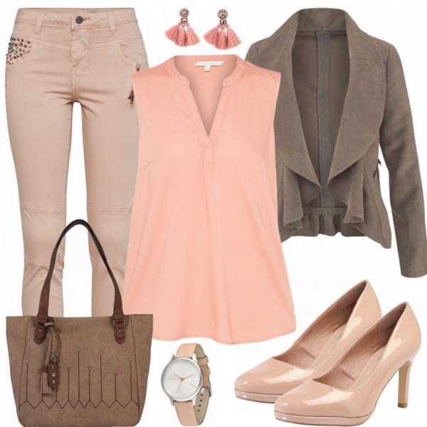 Schicker Bürolook aus heller Jeans, einem rosa Top und einer braunen Blazerjacke... #fashion #fashionista #mode #damenmode #frauenmode #damenoutfit #frauenoutfit #outfit #outfitinspiration #mode #trend2018 #modetrend