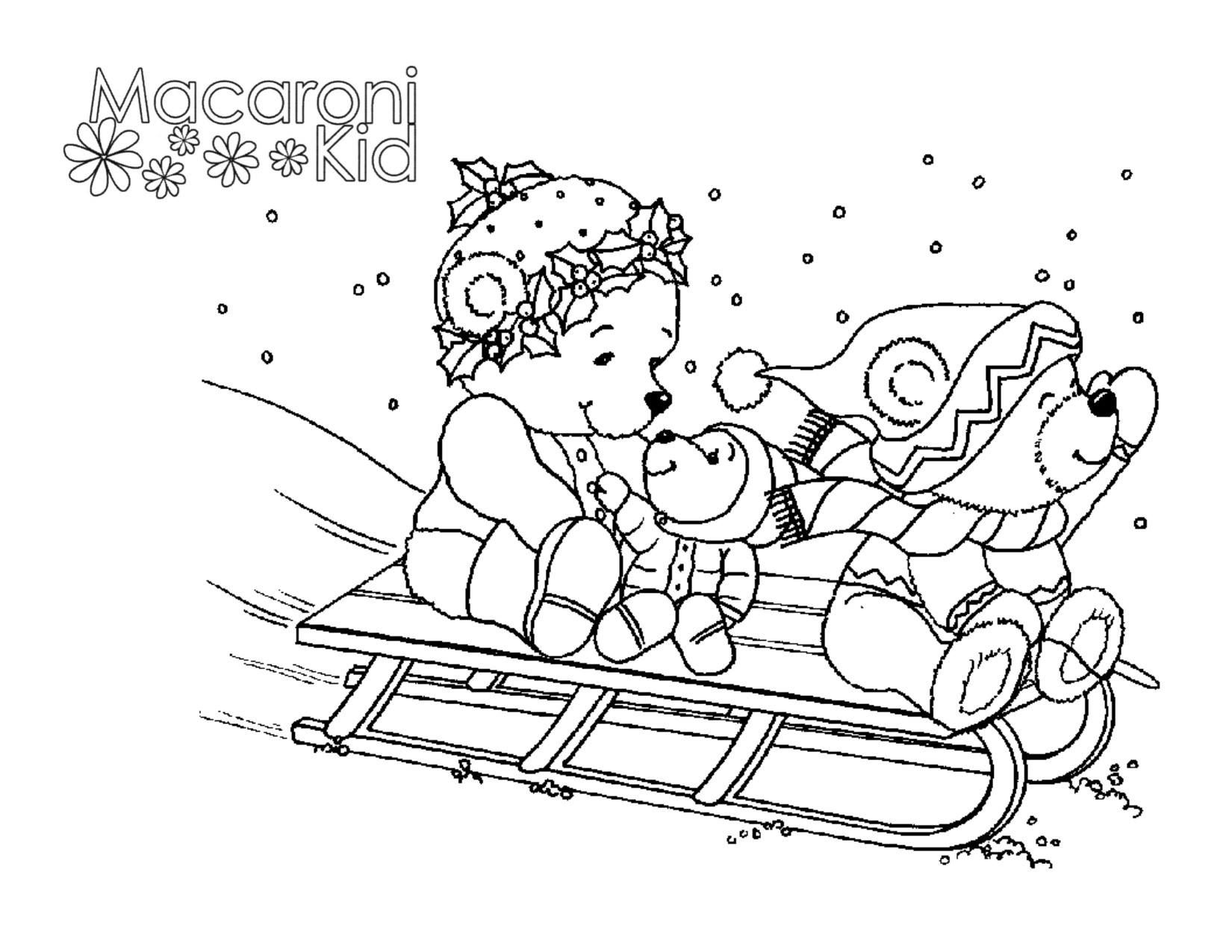 Winter Fun Coloring Page | #Sledding #Snow #HolidayFun | www ...