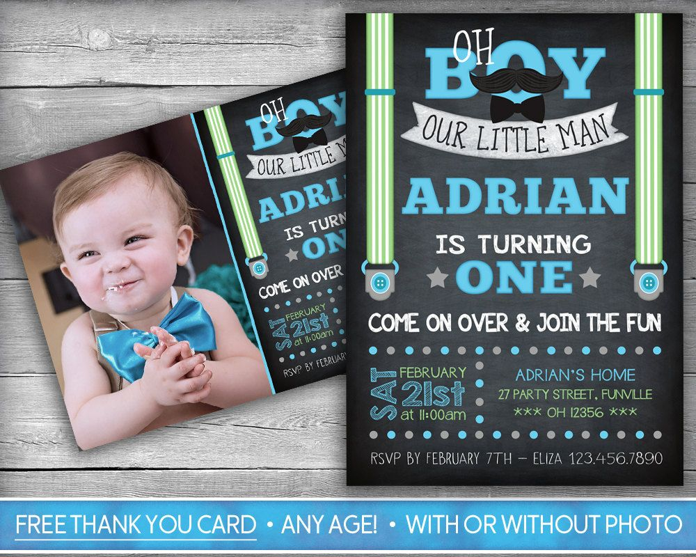 Little Man Invitation | Little Man Invite | First Birthday ...