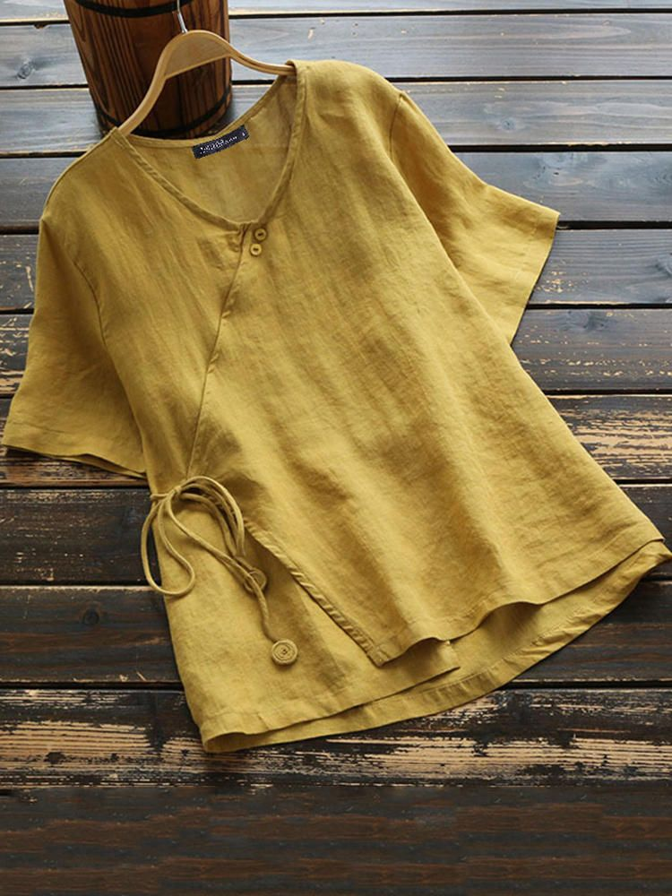 US$16.99 65% Women Cotton Button V-neck Solid Color Blouse Women's Clothing from Clothing and Apparel on banggood.com