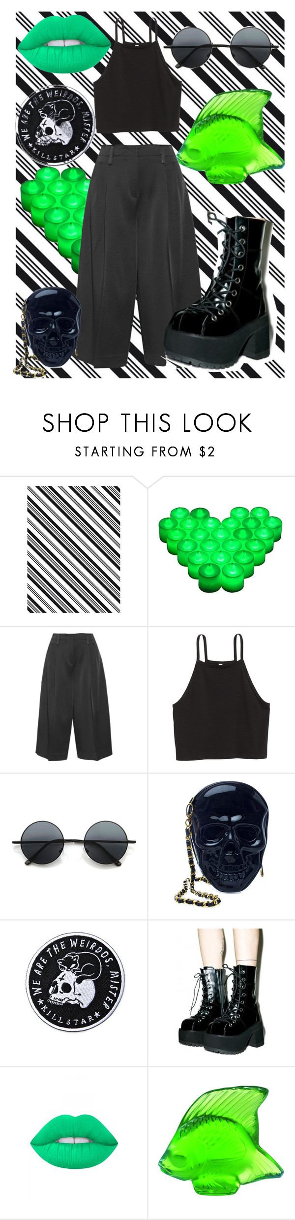 """""""Green Day"""" by xannixann ❤ liked on Polyvore featuring Darice, Joseph, Retrò, Loungefly, Killstar, Lime Crime and Lalique"""