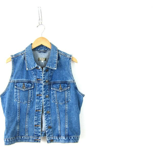 9ee5b9c0735 Vintage dark Denim Jean Jacket vest Hipster Sleeveless Coat women s... (360  ARS