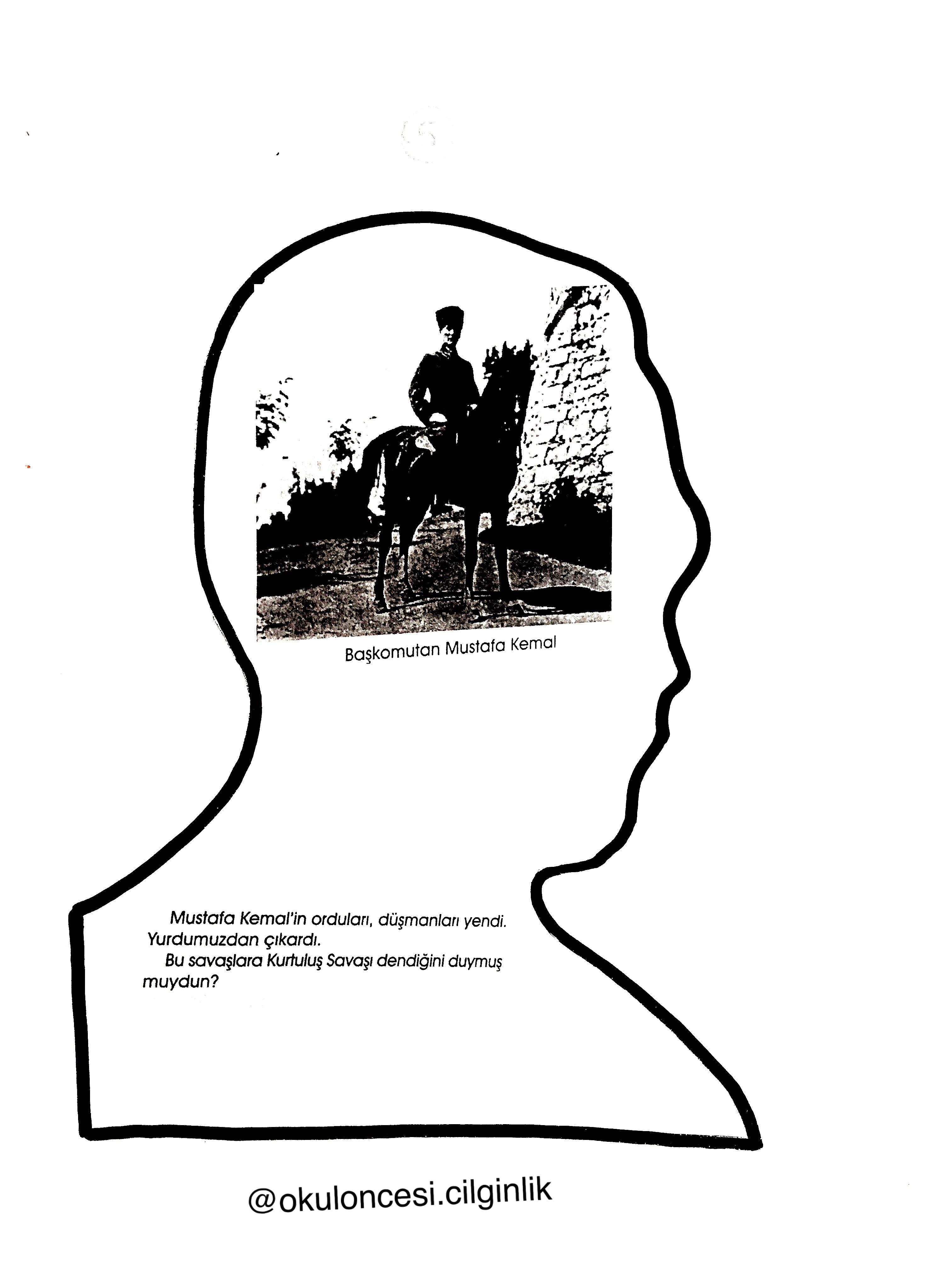 Ataturk Kitapcigi Kalip 5 Okuloncesi Cilginlik Basak Ogretmen Faaliyetler Rozet Boyama Sayfalari