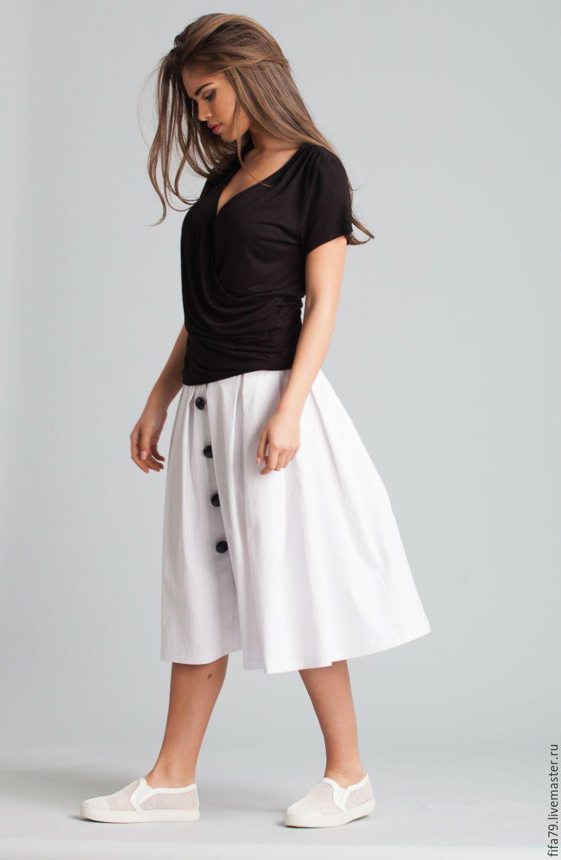 Купить Белая Летняя Юбка С Высокой Талией - белый, юбка белая, ретро юбка