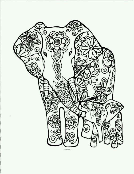 Elephant | Projects to try | Pinterest | Ausmalbilder, Malbücher und ...