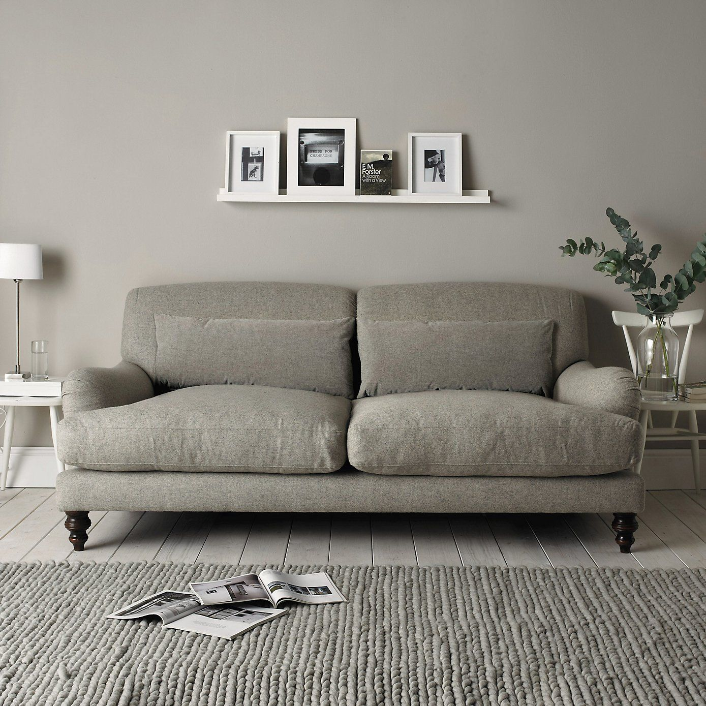 Mid Century Modern Light Gray Sofa Avery Wells Leather Studio Petersham Grey The White Company Casetta