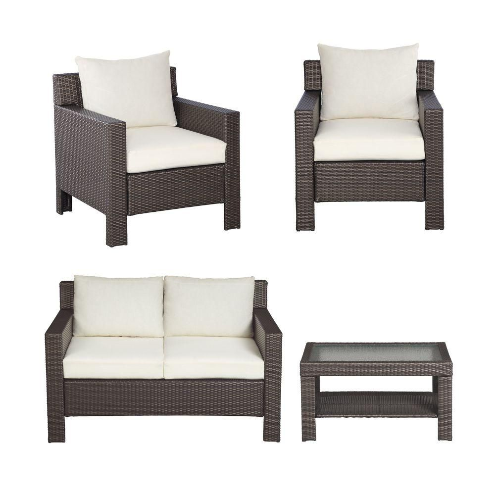 Hampton Bay Beverly 4 Piece Patio Deep Seating Set With Bare Cushions 55