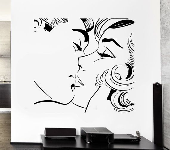 Thanksgiving Sale Wall Sticker Kiss Kissing Couple Romantic Love - Locations where sell wall decals