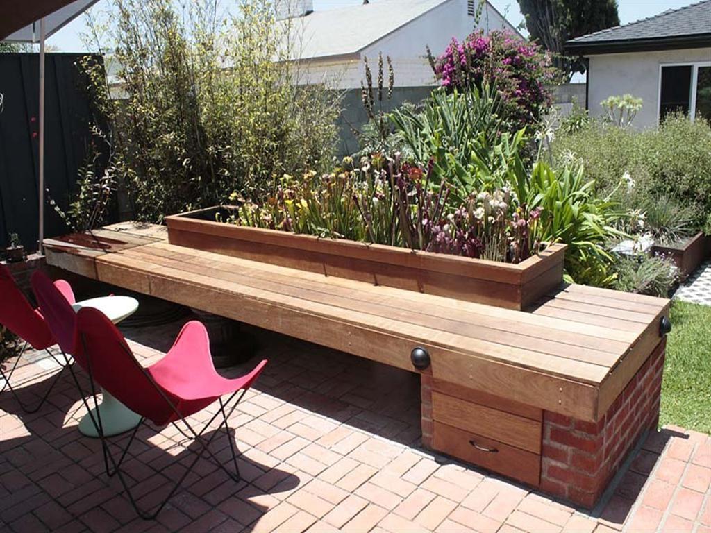 Wooden Garden Planters Garden bench seating, Diy bench