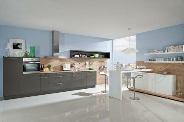 häcker-küchen-blaue-wand Küche - Farben Pinterest Kuchen - kuche blaue wande