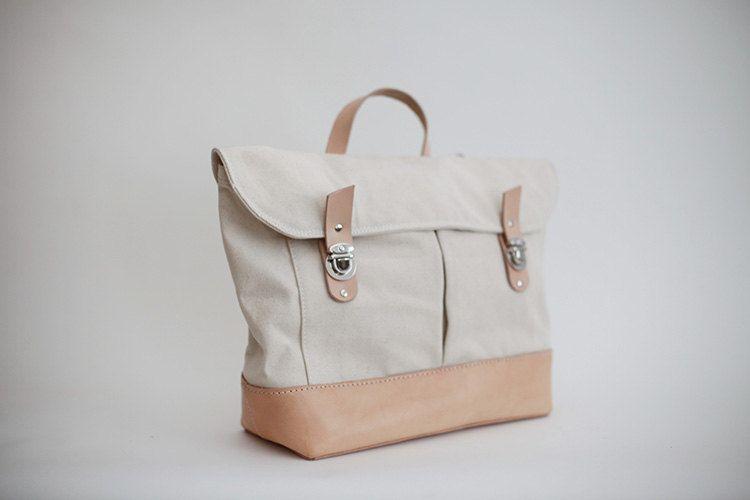 Canvas Leather Messenger Laptop Bag