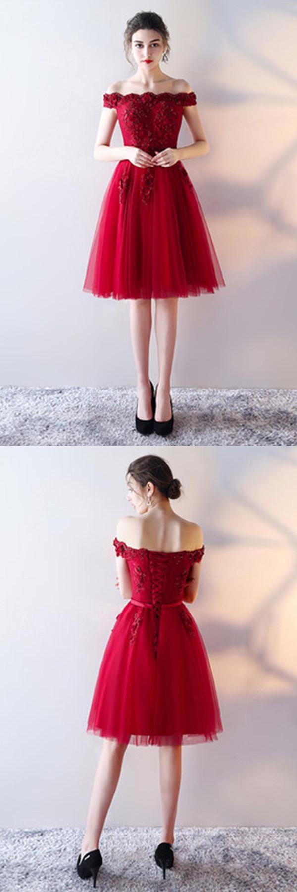 Red homecoming dressessleeveless prom dresslace homecoming dress