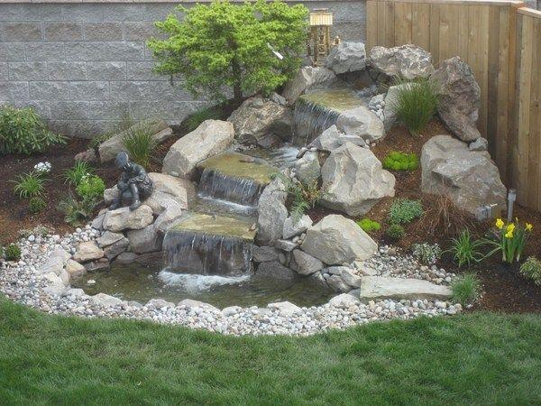 landscape design garden decoration water features rocks waterfall