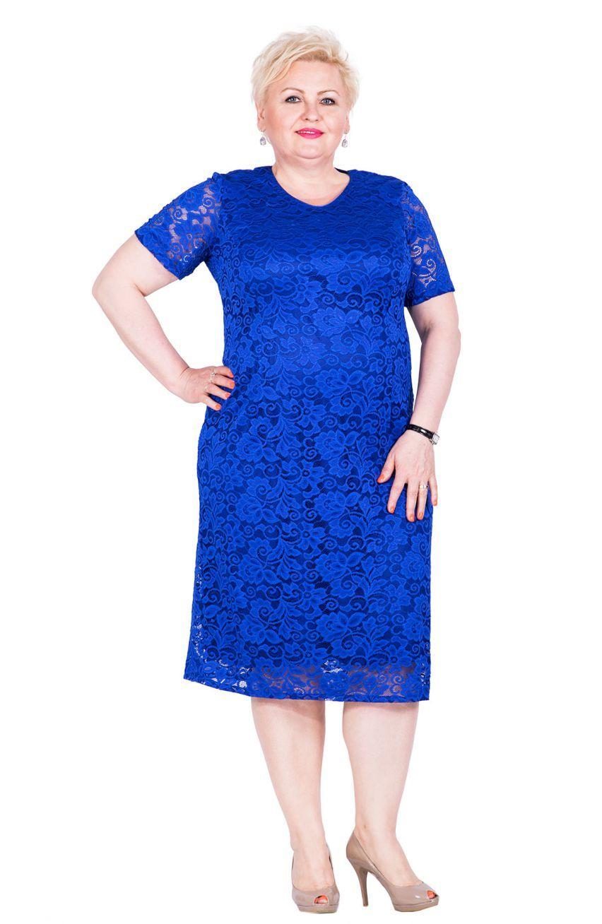 65c4c98ab1 Kobaltowa koronkowa sukienka z krótkim rękawem - Modne Duże Rozmiary ...