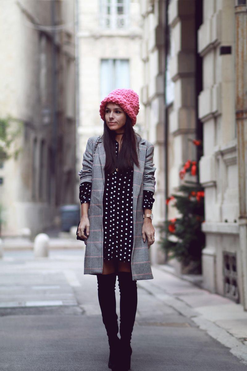 bonnet rose we are knitters manteau prince de galles zara. Black Bedroom Furniture Sets. Home Design Ideas