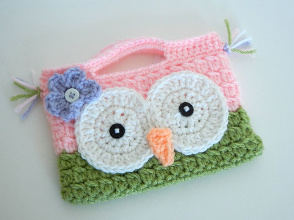 Owl purse crochet stocking stuffer gift under 15 owl easter and ready to ship owl purse crochet easter gift for kids under 15 negle Images