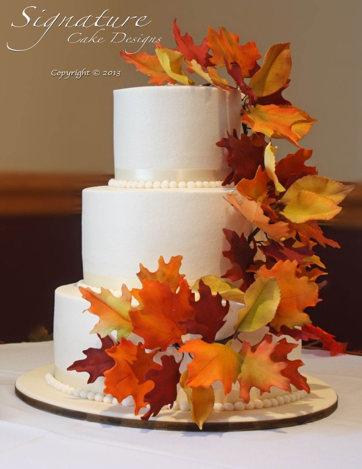Autumn Wedding Cakes With Leaves Diy
