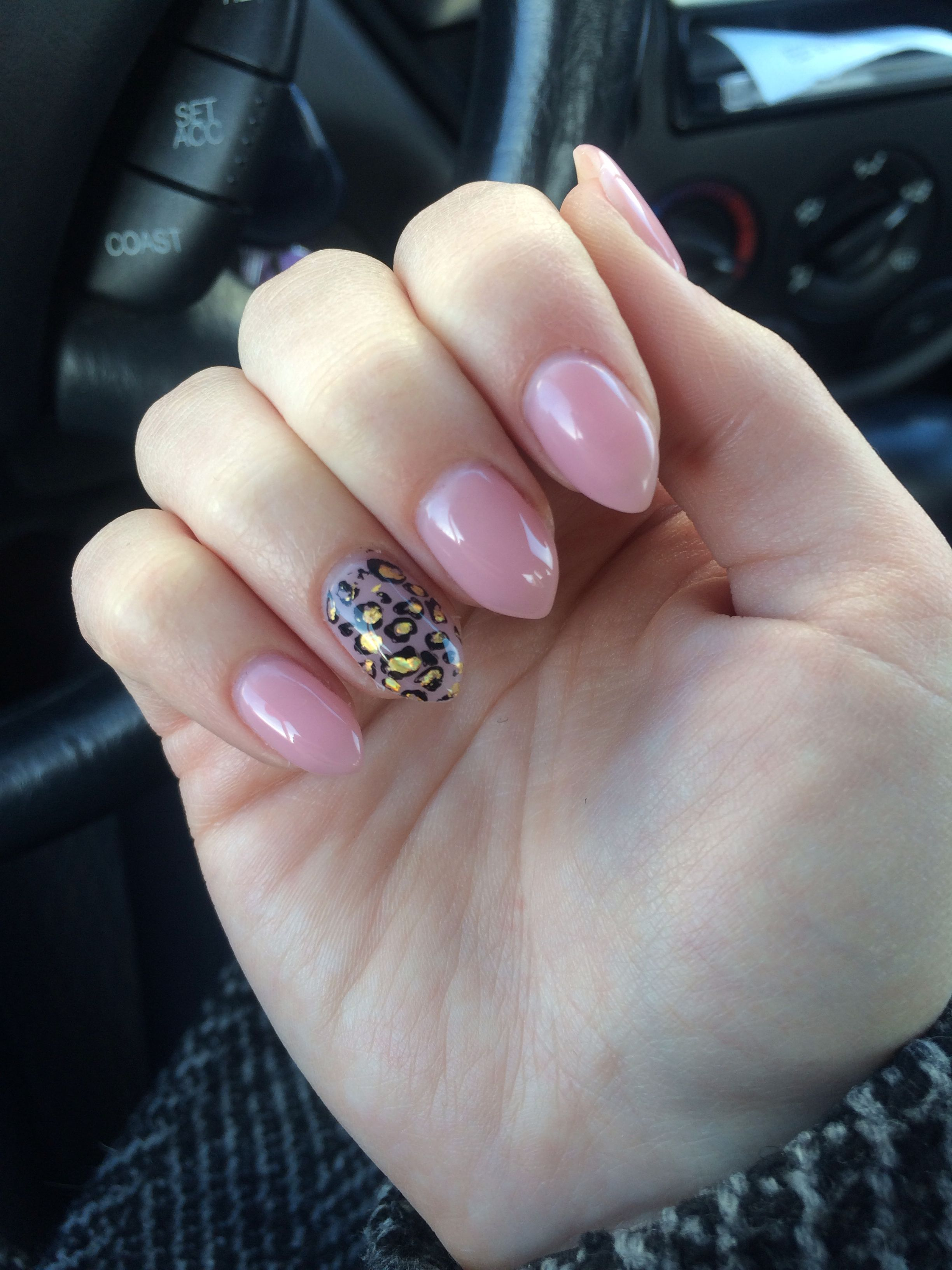 I love this new shape! Rose Almond nails with cheetah print! | Gel ...