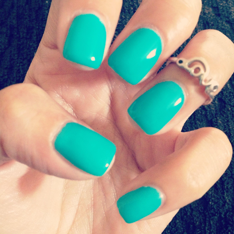 Teal gel nails | My Nails by: Nichole Schmidt | Pinterest | Makeup