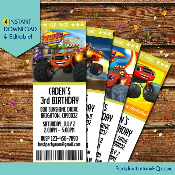Blaze And The Monster Machines Invitations Blaze And The