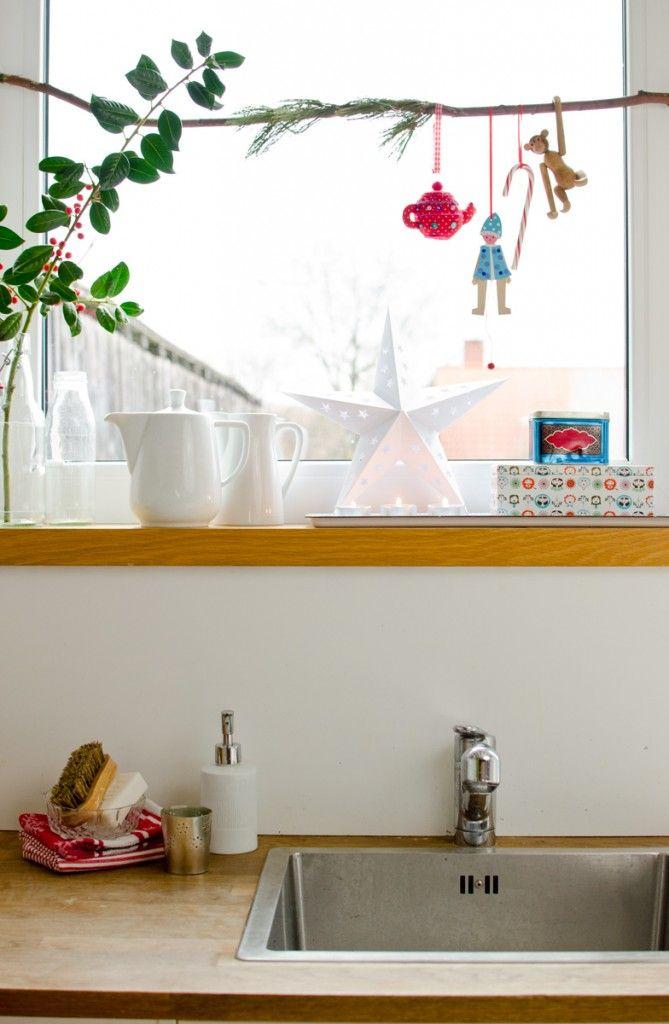 Ideen für Weihnachtsdekoration am Fenster in der Küche Deko - fenster in der küche