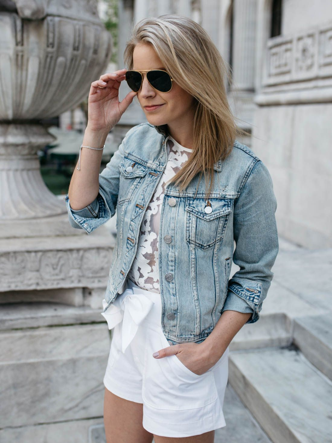 44e8544da98 denim jacket with white shorts and simple accessories creates a classic  summer look.  JaredTimelessMoments  ad