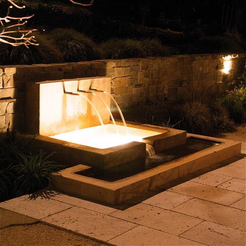 Fountain At Night With Stone Retaining Wall Modern Patio San Francisco Elements Land Water Features In The Garden Outdoor Water Features Water Features
