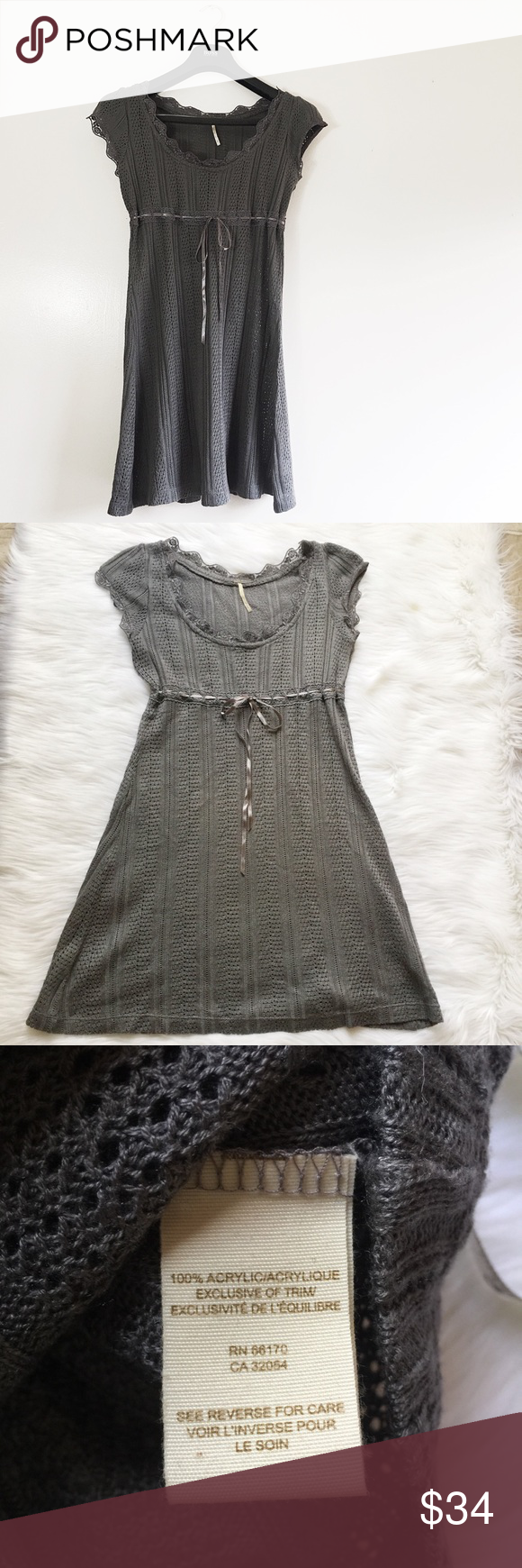 "Free People, Grey Knit Sweater Lace Synch Dress This beautiful sweater dress is perfectly adaptable for various occasions. While being elegant enough to wear semi formally, it's comfortable enough to be worn casually as well. The material is incredibly soft. The actual material is 100% acrylic. The built in slip has a very soft, almost silky feel. Measurements are as follows. Width: 26"" circumference (with room for stretch) Length: 33"". Bust: 36"". Measurements were taken while the dress was…"