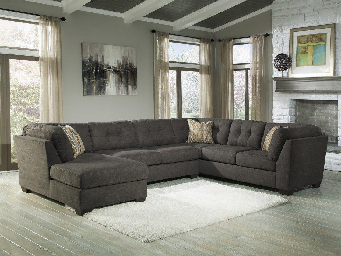 Best Quality Dark Grey Fabric Upholstery U Shaped Sectional Sofa  ~ Heather Grey Sectional Sofa