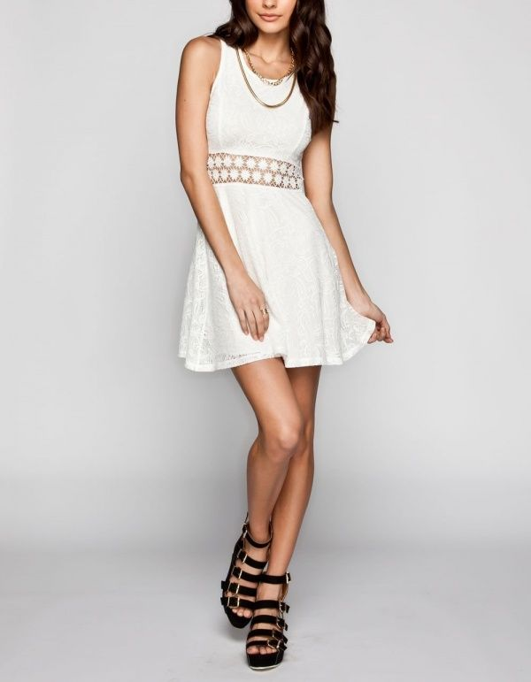 Women's #Fashion Clothing: Dresses: FULL TILT Crochet Inset #White Lace Overlay #Dress: Clothes