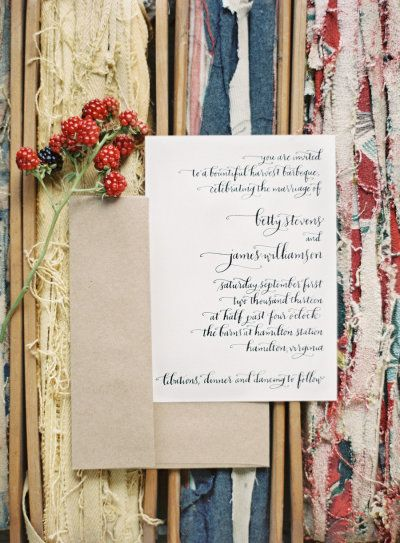 #calligraphy invitations by http://meanttobecalligraphy.com,  Photography by annerobertphotography.com  Read more - http://www.stylemepretty.com/2013/08/16/1950s-style-picnic-from-anne-robert/