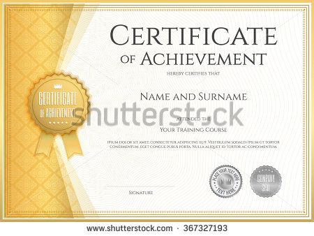 Certificate Of Achievement Template In Vector With Applied Thai