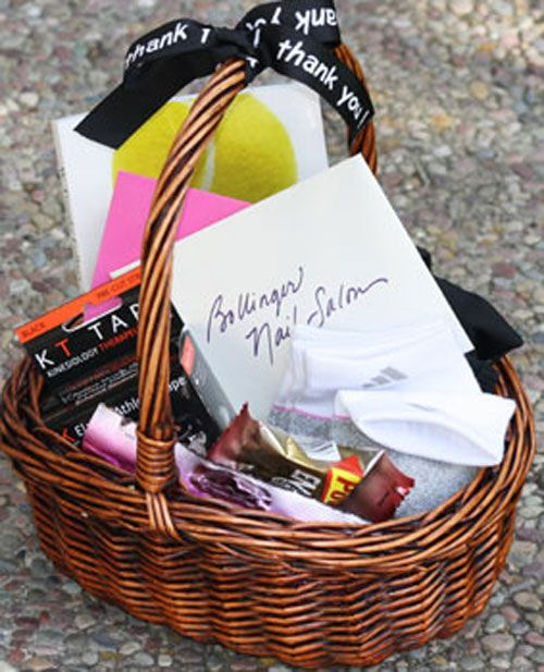 Delivered This Thank You Gift Basket To Our Tennis Captain Taking Care Of Her From Head To Toe With Ped Coach Gifts Cheer Coach Gifts Thank You Gift Baskets