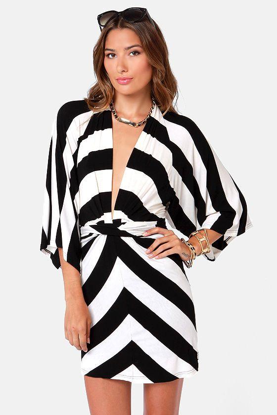 904b98ff37 Cute Black and White Dress - Striped Dress - Kimono Dress