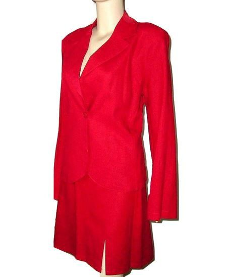 Vintage YENDI France RED Linen Mini Skirt Suit by DaniellesVintage