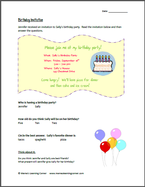 birthday invitation comprehension reading comprehension and homeschool. Black Bedroom Furniture Sets. Home Design Ideas