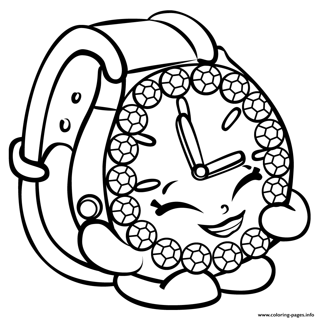 Shopkins coloring pages season 3 - Print Ticky Tock Watch Shopkins Season 3 Coloring Pages