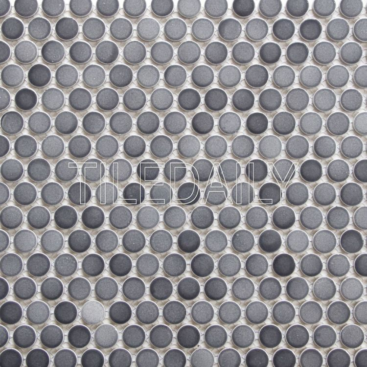 Gradient Grey Penny Round Mosaic Tile Bathrooms Penny