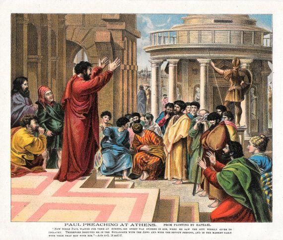 Raphael Antique Print Bible Story Paul Preaching Sermon