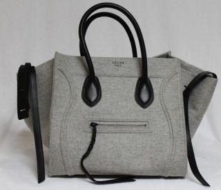 Celine Phantom Pearl Grey Luggage Wool Leather Medium Tote Bag