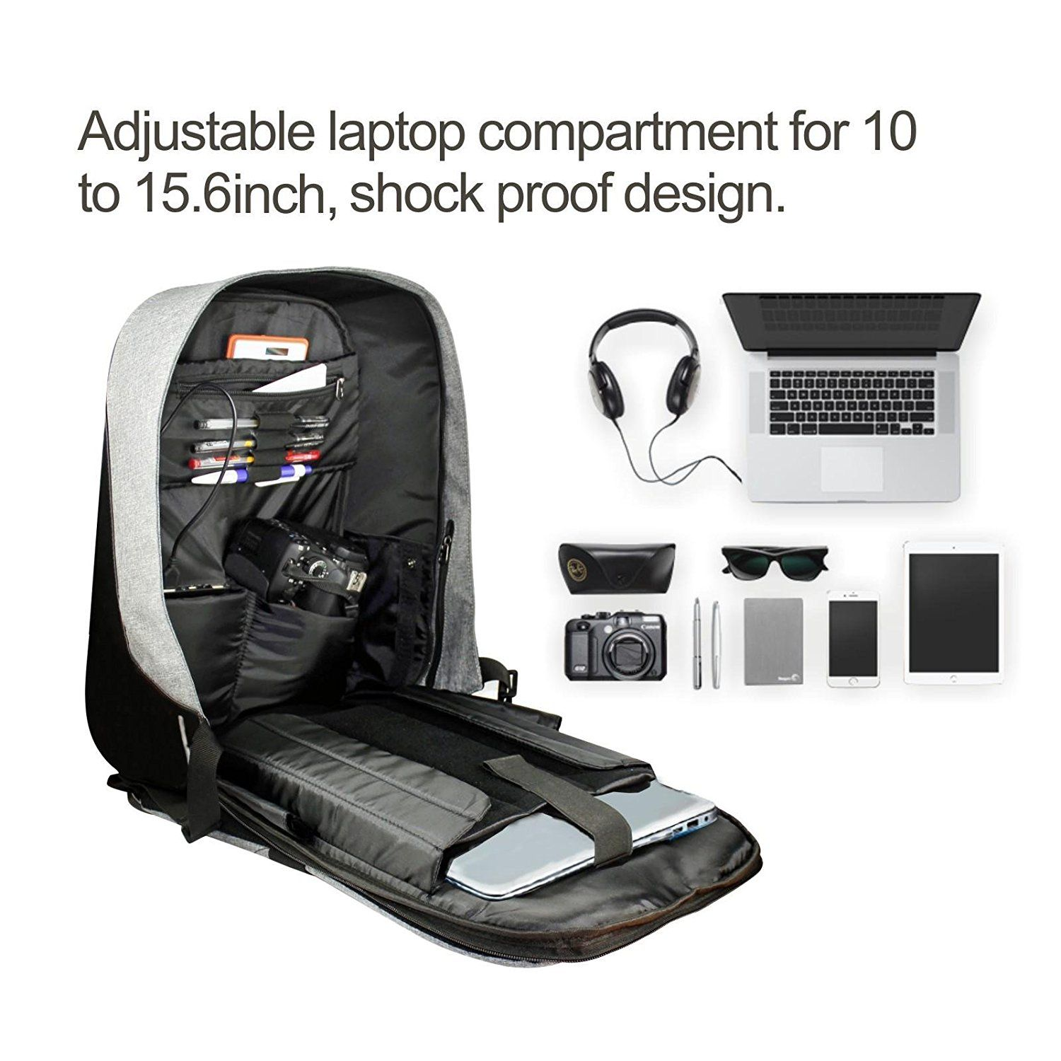 Amazon.com  JOYELIFE Anti Theft Backpack Bag Lightweight Travel Gear Hiking  Laptop Bag Smart Daypack Rucksack Up to 15.6 Inch  Computers   Accessories f6b012fbf0