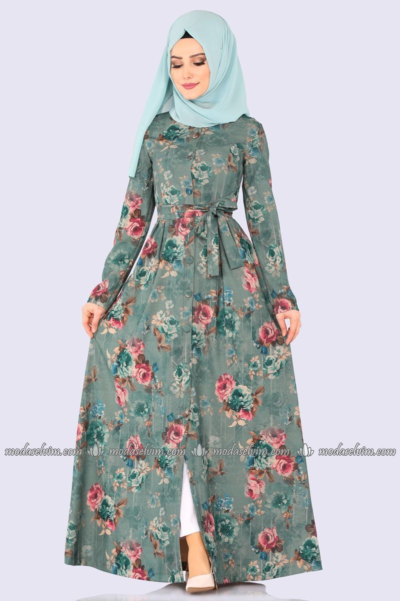 Moda Selvim Cicekli Elbise Ferace 2139ms212 Mint Muslim Fashion Dress Women Chiffon Blouse Fashion
