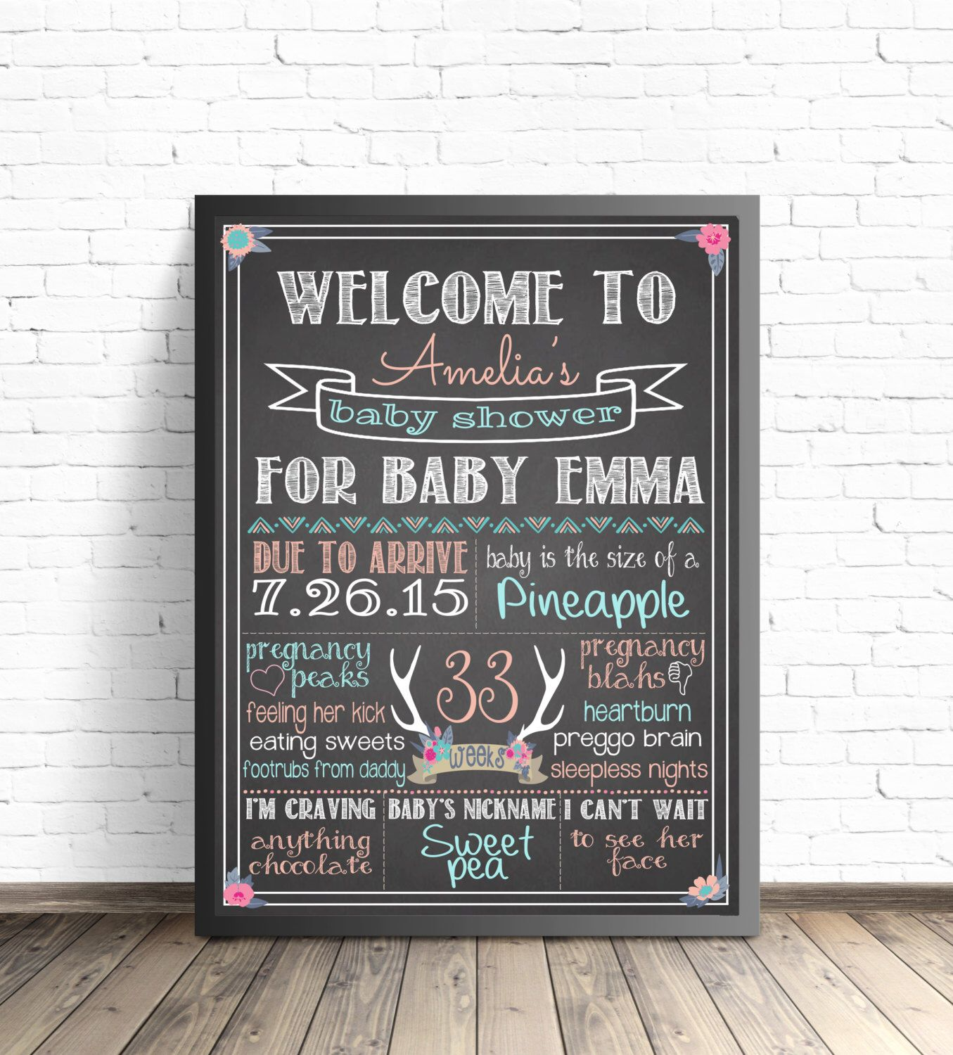 Baby Shower Chalkboard Sign Boho Chic Baby Shower Decorations