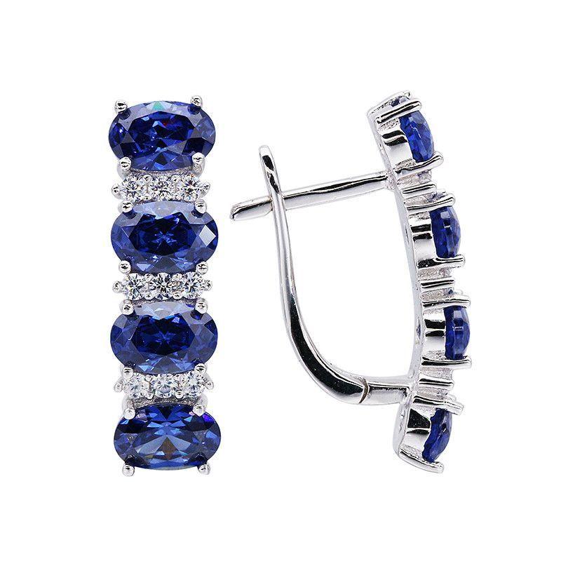 925 Sterling Silver Tanzanite Earrings For Women Blue Stone Fine Jewelry Wedding