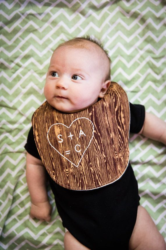 The Family Tree Bib™, a personalized organic flannel plus woodgrain cotton baby bib with hand embroidered initials. ORIGINAL SewnNatural design. A